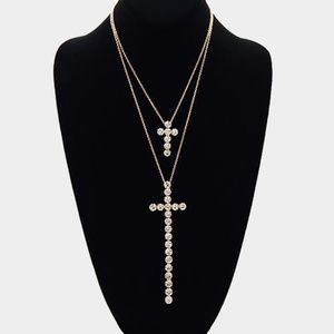 Jewelry - • Double Layered Crystal Cross Pendant Necklace